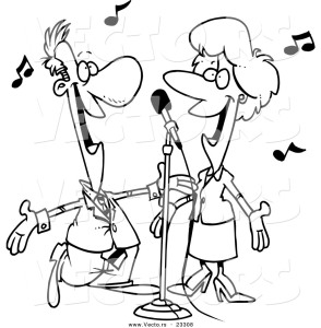 cartoon-vector-of-cartoon-couple-singing-coloring-page-outline-by-ron-leishman-23308
