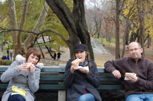 eating hot dogs in the park